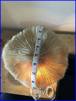 Coral Corded Mushroom Vintage Lamp multi caps wood base