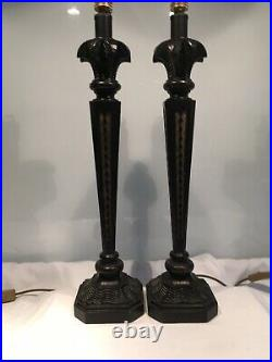 Elegant Pair Of Large Vintage Deco Style Oka Inspired Table Lamps