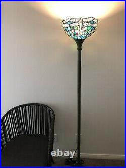 Enjoy Tiffany Style Floor Lamp Green Blue Stained Glass Dragonfly Vintage 66H