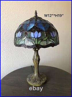 Enjoy Tiffany-Style Table Lamp Blue Stained Glass Tulips Flower Vintage 19H12W