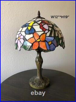 Enjoy Tiffany Style Table Lamp Stained Glass Hummingbird Flower Vintage 19H12W