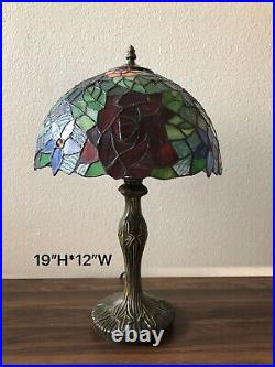 Enjoy Tiffany Style Table Lamp Stained Glass Rose Flower Vintage 19H12W