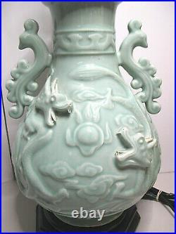 Exquisite Pair of Large Vintage Wildwood Asian Celadon Porcelain Dragon Lamps