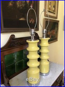 Fab Pair Vintage MCM Mid Century Modern 1960's Yellow Ceramic Lamps