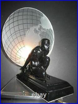Frankart Sarsaparilla art deco Atlas withthe glass earth shade black lamp USA made
