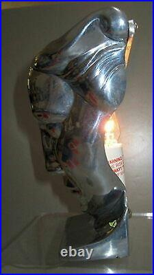Frankart art deco nymph face table lamp body polished aluminum finish made USA