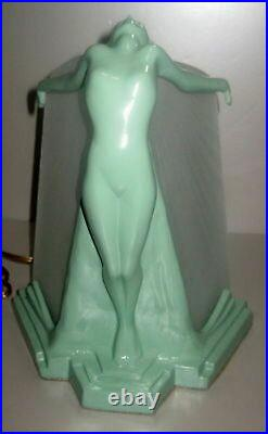 Frankart butterfly nymph art deco table lamp in greenie finish metal & glass USA