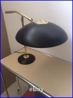 GERALD THURSTON Vintage Mid-century Modern Saucer table Lamp black and brass