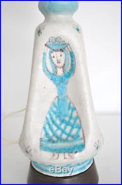 GUIDO GAMBONE Vtg Mid Century Modern Ceramic Pottery Table Lamp Italy Vietri