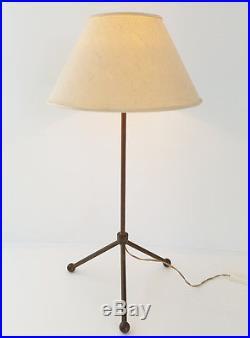Grande Lampe De Table Tripode Annees 50 En Laiton Vintage Rockabilly 50s 50's