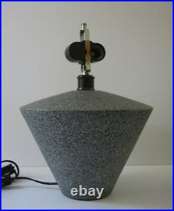 Gray Mid Century MCM Cone Lamp Neutral Small Desk Table Vintage Textured Ceramic