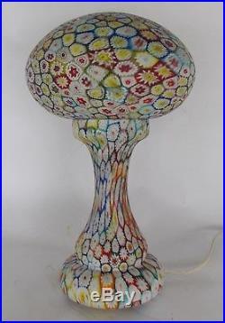 Great Vintage Antique Italian Millifiori Mushroom Two Part Table Lamp