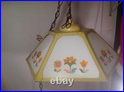 Groovy Flower child Vintage 60's-70's Kitchen Yellow Hanging Lamp/Light Fixture