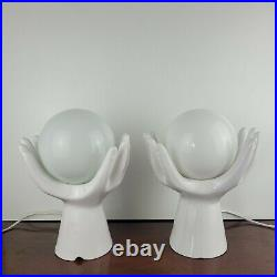 Iconic Pair of Vintage White Ceramic Hands Holding Globe Table Lamps Working