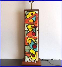 Impressive Harris Strong Tile & Walnut Table Lamp, 1950s Vintage Modernism MCM