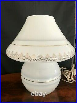 Incredible Vintage Murano Glass Mushroom 14.5 Table Lamps rare decorated pair
