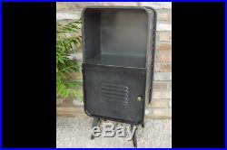 Industrial 1 Door Metal Storage Cabinet Shelf Unit Vintage Side End Lamp Table