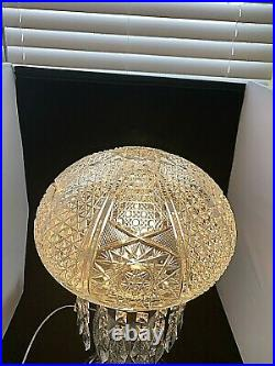 LARGE Vintage American Brilliant Crystal Lamp with Prisms