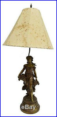 Lamp, Table, Metal, French Figure Auguste Moreau, Early 1900s, Gorgeous Vintage