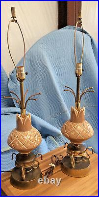 LampsVintage/Retro Pr Table c1950s Mid Modern Style Double Fiberglass Shades