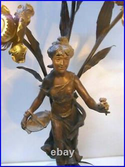 Large Antique Art Nouveau Figural Woman Newel Post Table Lamp L Delavigne France
