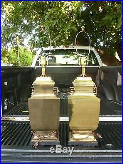 Large Pair Of Vintage Brass Chinoiserie James Mont Style Moon Flask Vase Lamps