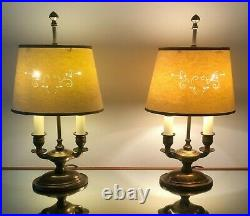 Laura Ashley Vintage Brass Pair Table Lamps & Shades French Bouillotte Style GC