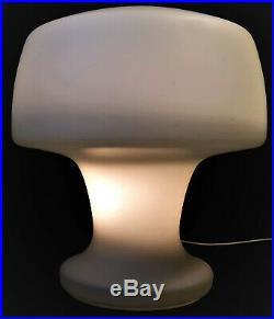 Laurel Frosted Glass Mushroom Table Lamp Vintage 1960s Italy MCM Mid Century