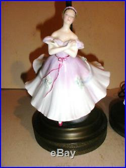 Lot of 2 Vintage Royal Doulton Porcelain Lady ballerina dancer Table Lamp lamps