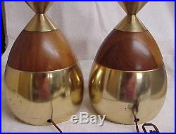 Lrg. Matched Pair (2) Vintage MID Century Modern Teak Wood And Brass Table Lamps