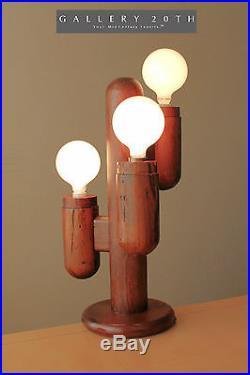 MID CENTURY MODERN MODELINE CACTUS DECORATOR LAMP! VTG WOOD 1970s RUSTIC WESTERN