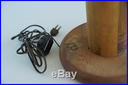 MID CENTURY MODERN TEST TUBE CACTUS FLOOR/TABLE LAMP! EAMES VTG WOOD 1970's 29