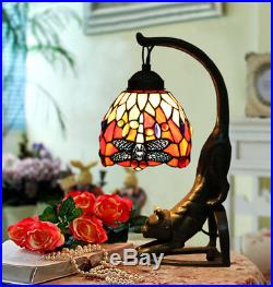 Makenier Vintage Tiffany Style Stained Glass Red Dragonfly Cat Table Lamp