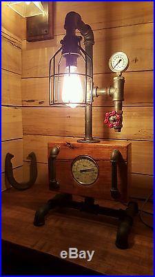 Mancave Steampunk Lamp Vintage Antique Look w Pressure Gauge Valve Home Decor