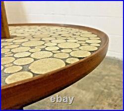 Martz Marshall Vtg Mid Century Modern Wood Pottery Ceramic Tile Table Floor Lamp