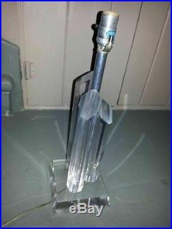 Mid Century Lucite Acrylic Pillar Table LAMP Modern Vtg Hollywood Regency 18