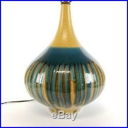 Mid Century Modern Lamp Blue Drip Glaze Ceramic Vintage Turquoise Green