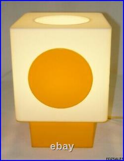 Mid Century Modern Square Dot Orange White Table Lamp Vintage MCM Light