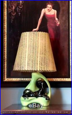 Mid Century Modern Vintage 1950's, Panther table TV Lamp+shadeSpectacular cond