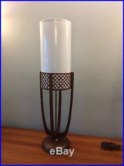 Modeline Dramatic Pair Mid Century MCM Table Lamps Teak Vintage Retro