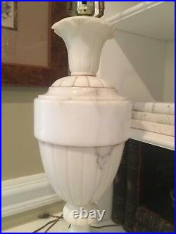 Monumental 22 Mid Century ITALIAN Polished Alabaster Marble Urn Table Lamp