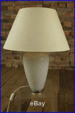 Murano Swirl Glass Table Lamp, Vintage 1970s Light Venini