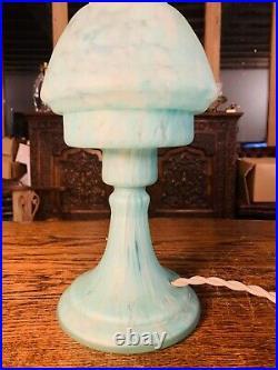 Murano Vintage Glass Table Lamp, Mottled Azure Blue
