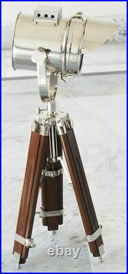 Nautical Spotlight Table Lamp Searchlight Chrome With Wooden Tripod Home Decor