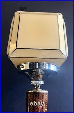 ORIGINAL 1930s FRENCHART DECO TABLE DESK LAMP OAK STEM SQUARE GLOBE GLASS SHADE