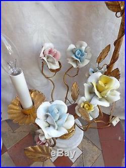 Ornate Vintage French Boudoir Porcelain Floral Roses Gold Gilt Table Lamp Set