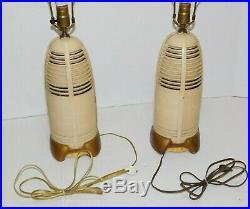 PAIR 40's Vtg Atomic Age Lumitone Bakelite Radio Table Lamp Mid Century Modern