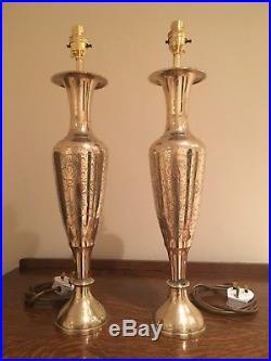 PAIR Large Vintage Brass Table Lamps Elegant Engraved Detail H20 GWO