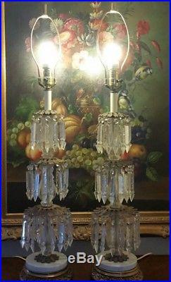 Pair Vintage Brass Bronze Table Lamp Candelabra Crystal Chandelier