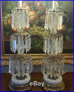 PAIR VINTAGE BRASS BRONZE TABLE LAMP CANDELABRA CRYSTAL CHANDELIER WithPRISMS